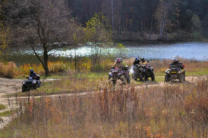 Group of ATVs in the forest. Moscow region. Russia. October 19, 2018 stock image