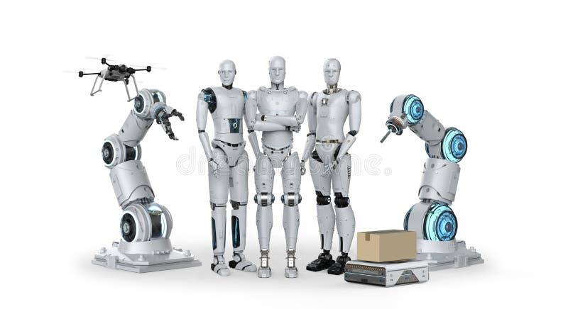Group of automation robots stock illustration