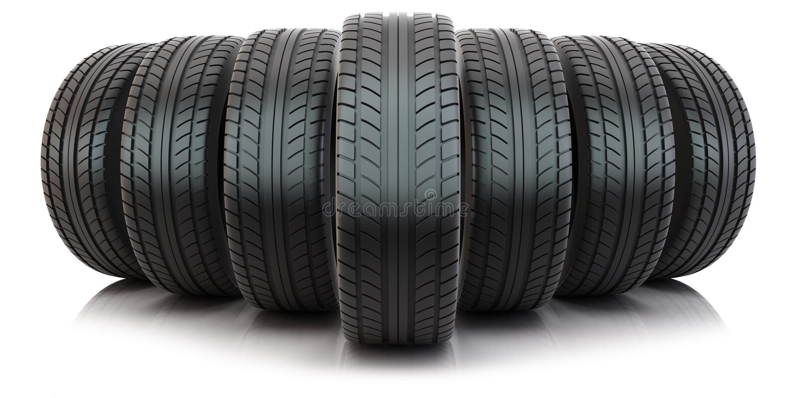Group of automotive tires. Group of tires on white background vector illustration