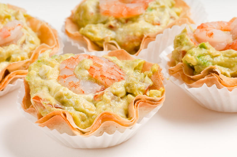 Group Of Avocado And Shrimp Canapes Stock Images