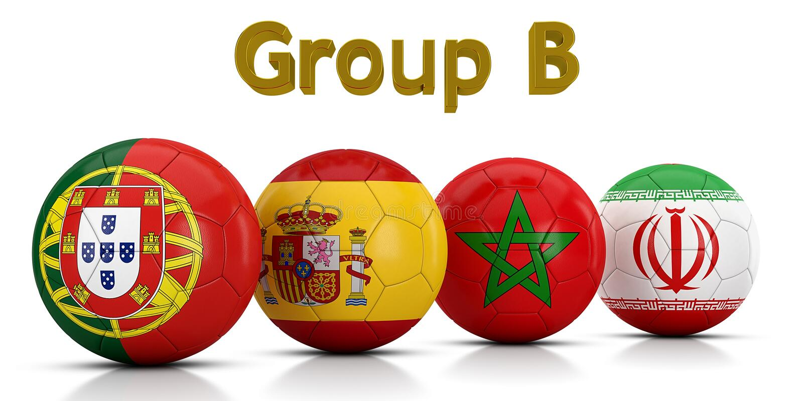 Football World championship groups 2018 - Group B represented by classic soccer balls painted with the flags of the countries stock illustration