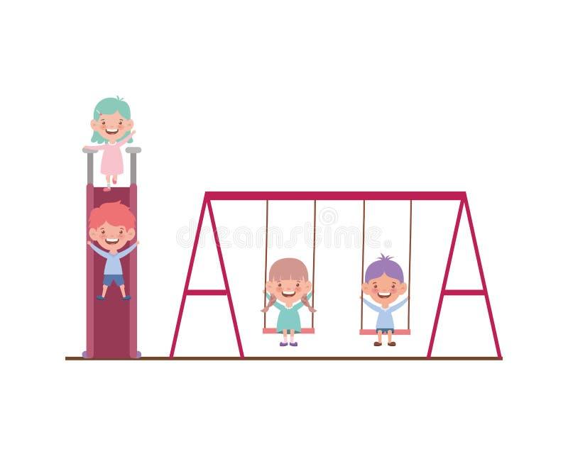 Group of babies in park games on white background. Vector illustration design royalty free illustration
