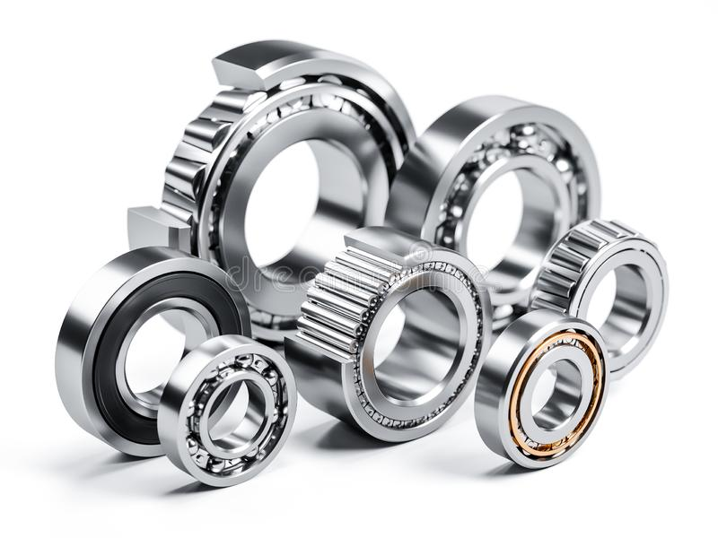 Group of ball bearings isolated on white 3d royalty free illustration