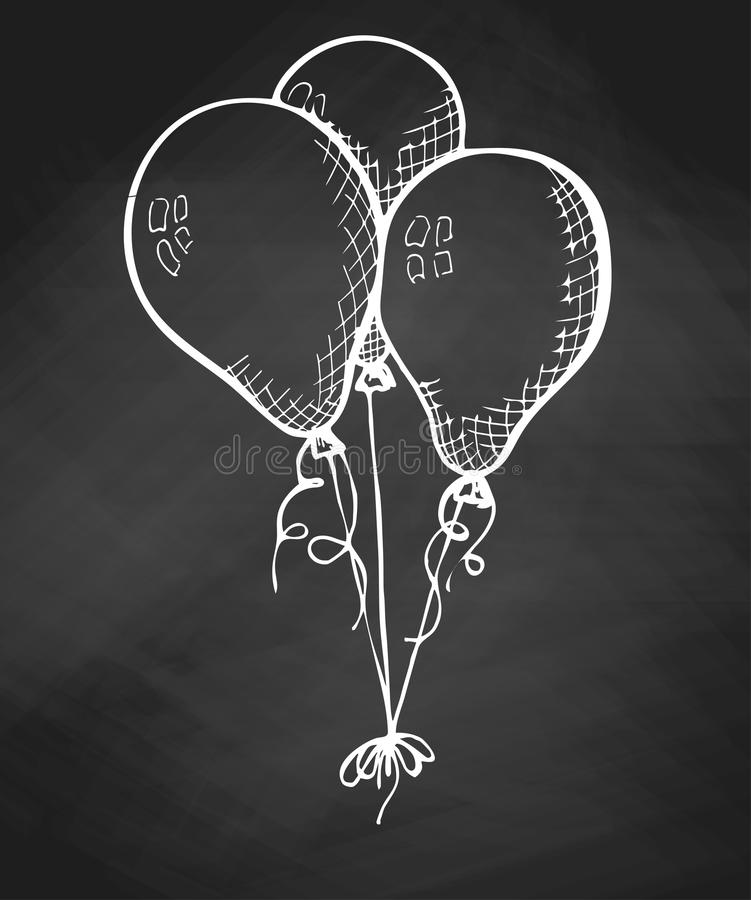 Group of balloons on a string. Hand drawn chalk on a chalkboard. stock illustration