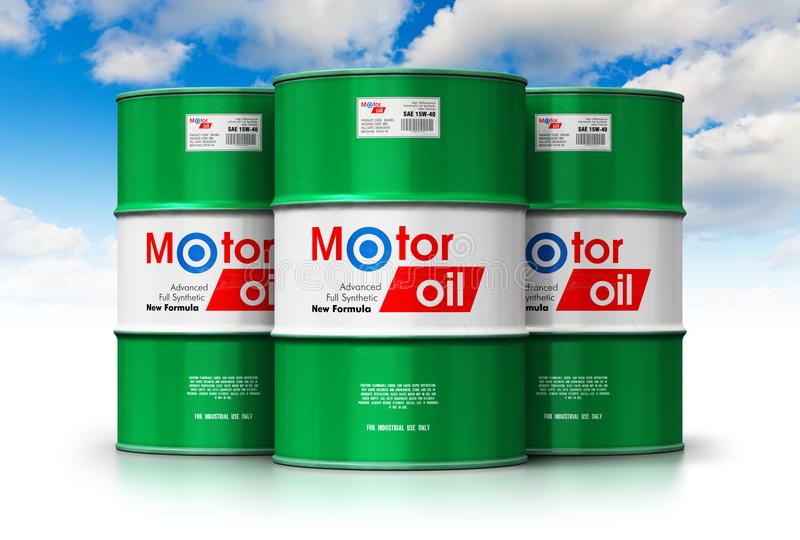Group of barrels with motor oil lubricant against blue sky royalty free illustration