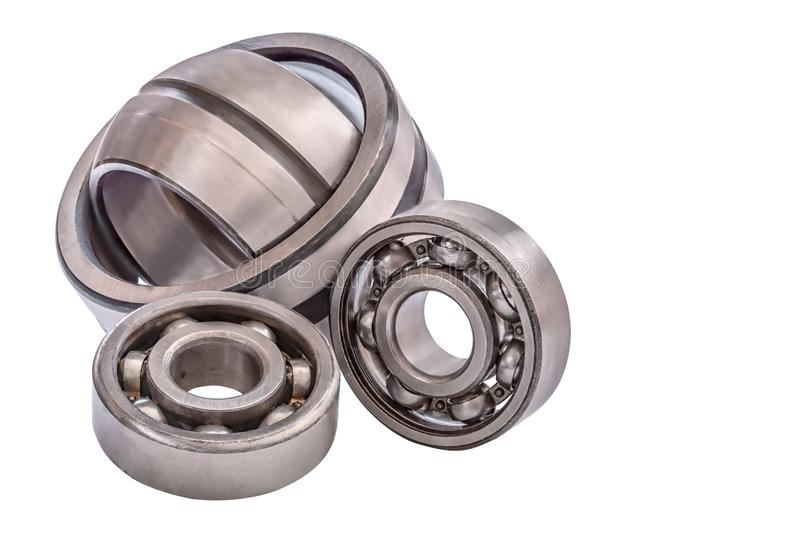Group of bearings of different sizes isolated on white background royalty free stock photo