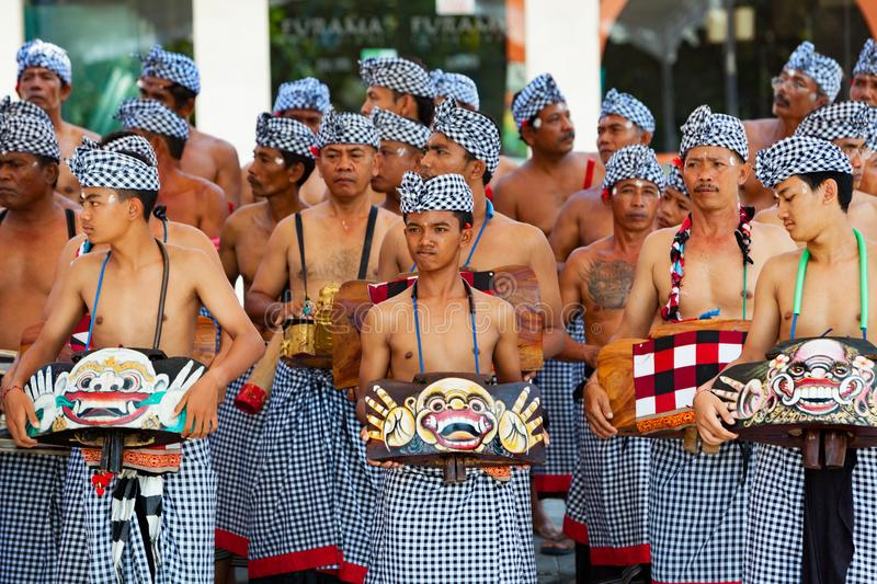 Group of beautiful Balinese men dancers in traditional costumes stock images