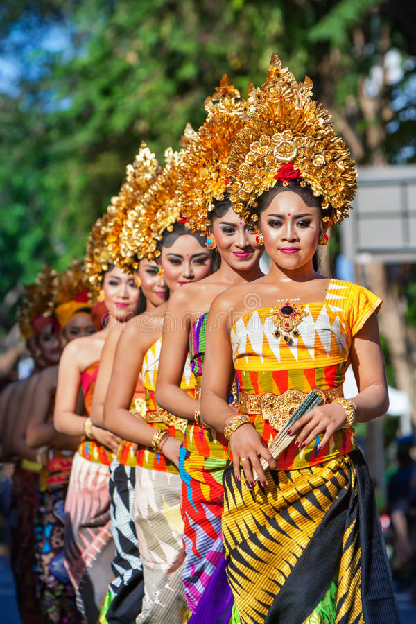 Group of beautiful Balinese women dancers in traditional costumes royalty free stock image