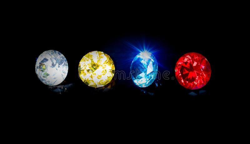 Group beautiful diamond at blue red yellow and clear royalty free stock photos