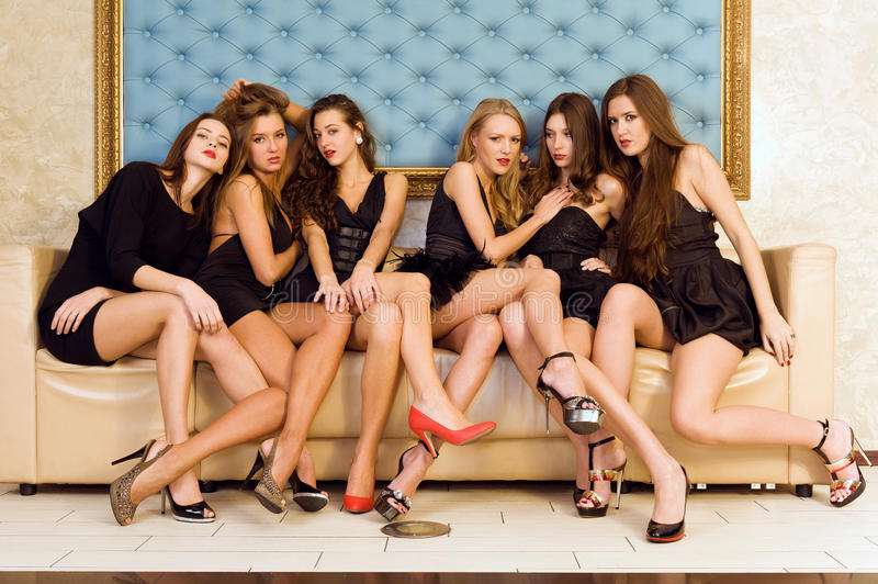 Group of beautiful models stock photography