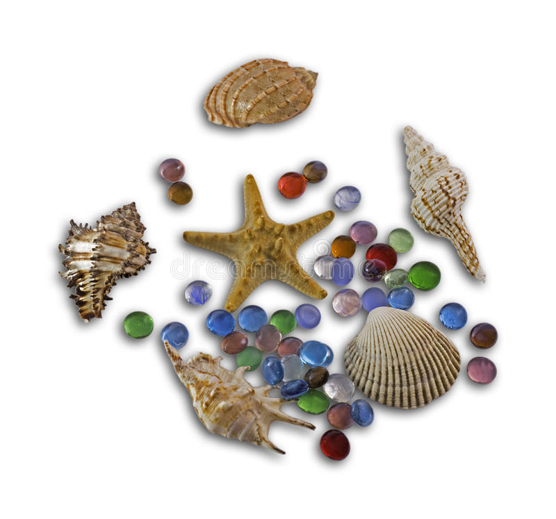 Group of beautiful sea bowls and colour stones stock photography