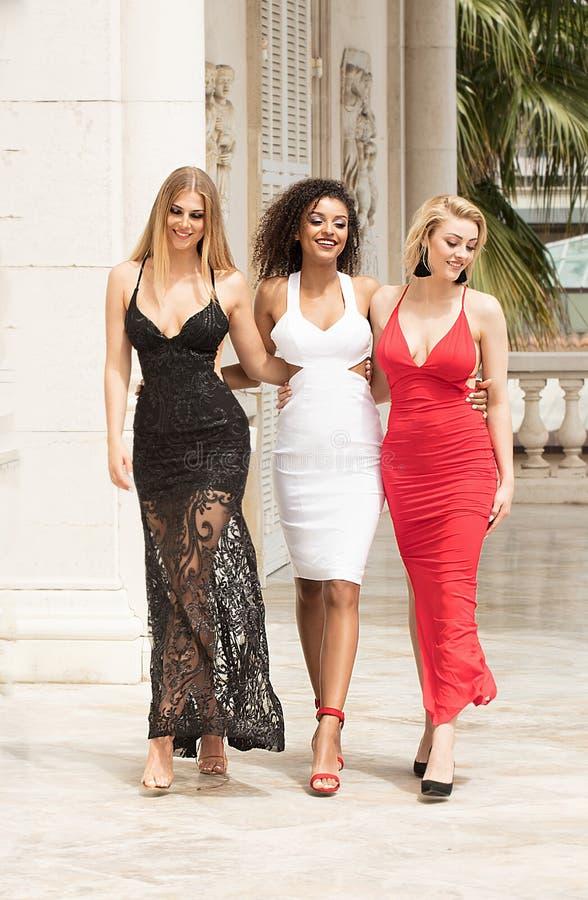 Group of beautiful ladies in elegant dresses at sunny summe. Group of beautiful ladies wearing elegant dresses. Girls having fun together, smiling. Two blonde royalty free stock photos