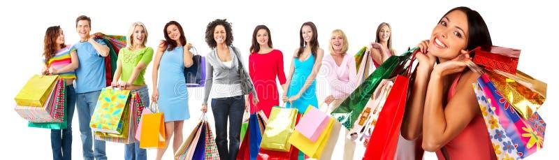 Group of beautiful shopping woman. royalty free stock photo