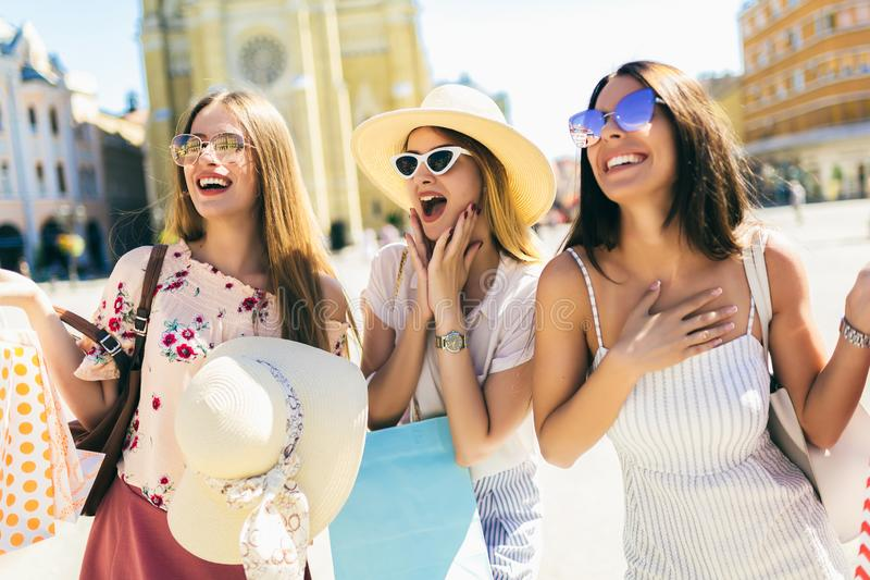 Beautiful women smiling and having fun together stock photo