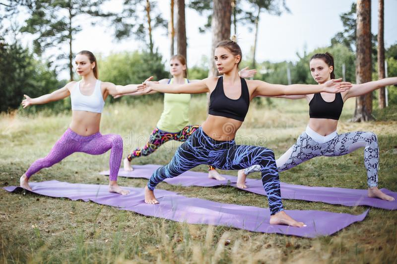Group of beautiful young women doing yoga together royalty free stock photo