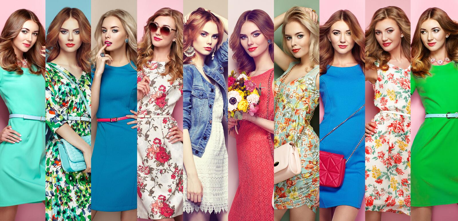 Group of beautiful young women. Fashion collage. Group of beautiful young women. Blonde young women in floral spring summer dress. Girl posing. Summer floral stock photo