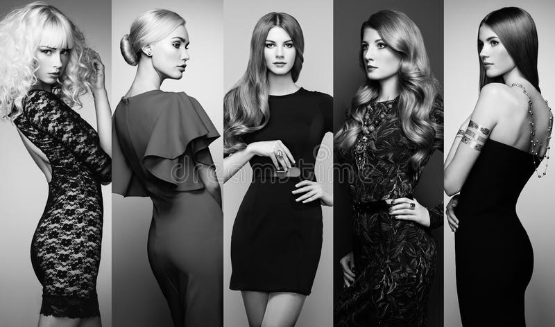 Group of beautiful young women. Fashion collage. Group of beautiful young women. Sensual girls posing in studio. Lady in elegant dresses. Black and White stock images