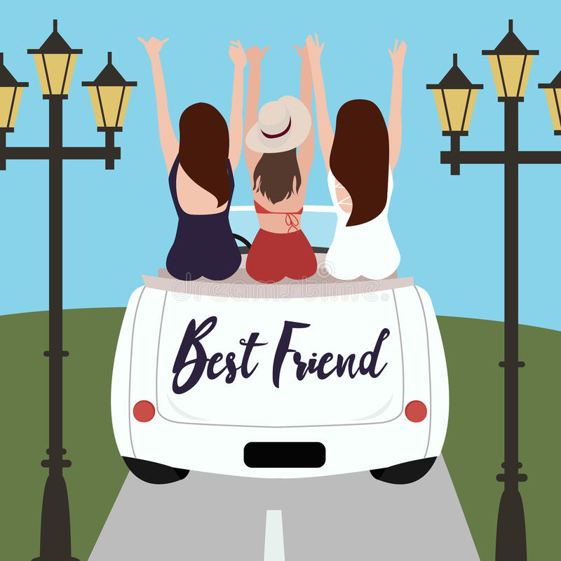 Group of best friends cheering on car road trip. Happy people outdoor on vacation tour adventure. Friendship concept. royalty free illustration