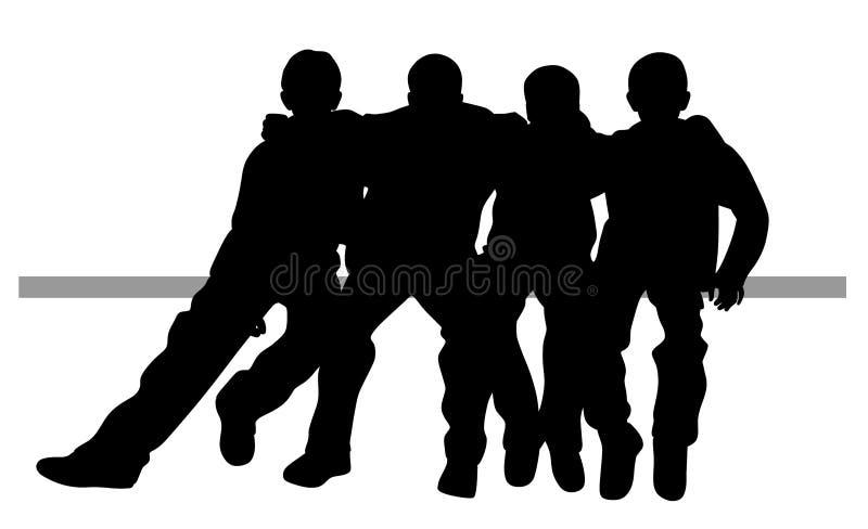 Group of best friends kids sitting huddled together stock illustration