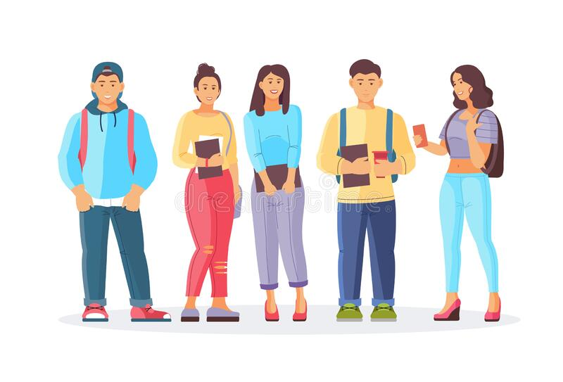 Group best friends, young students smiling teenage boys and girls vector illustration