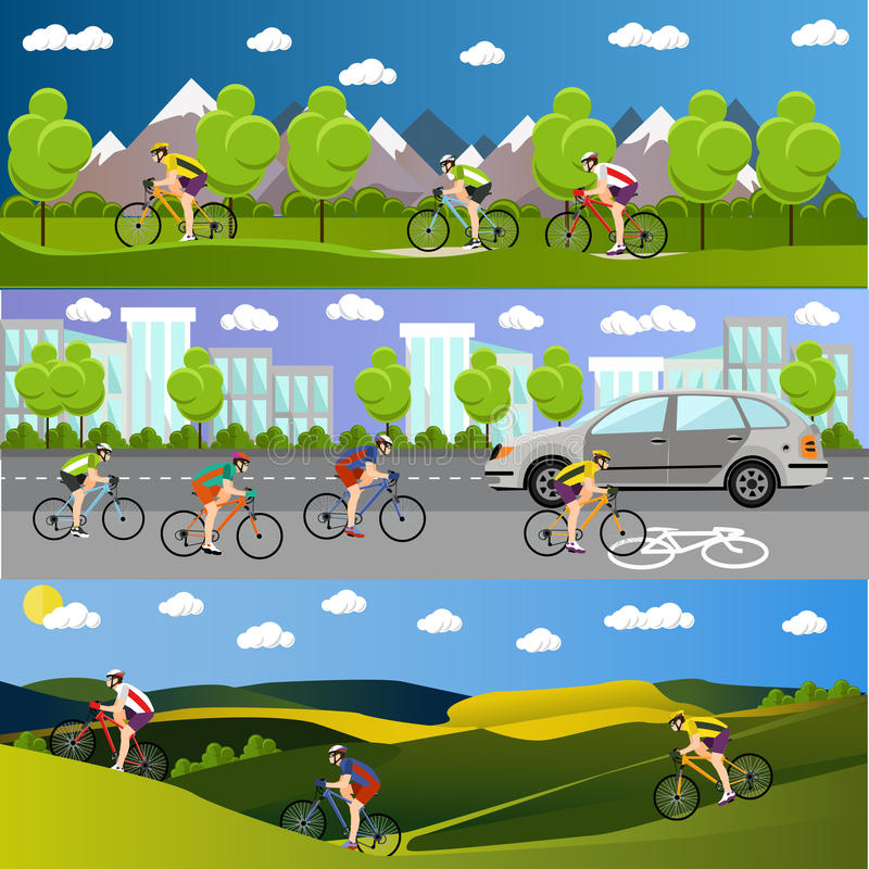Group of bicycle riders on bikes in mountains, city road and park. Biking sport banners. Vector illustration flat style stock illustration