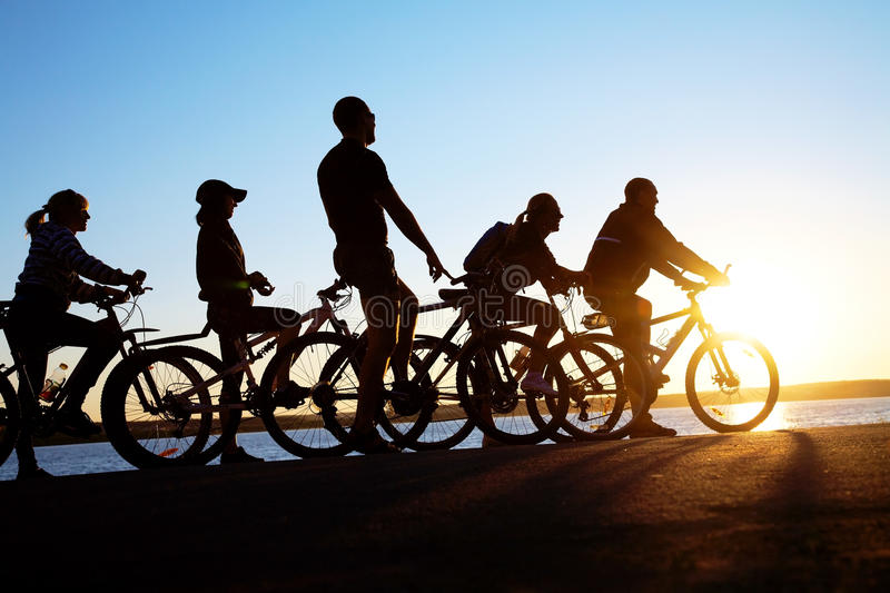 Download Group on bicycles stock photo. Image of leisure, girl - 23611522