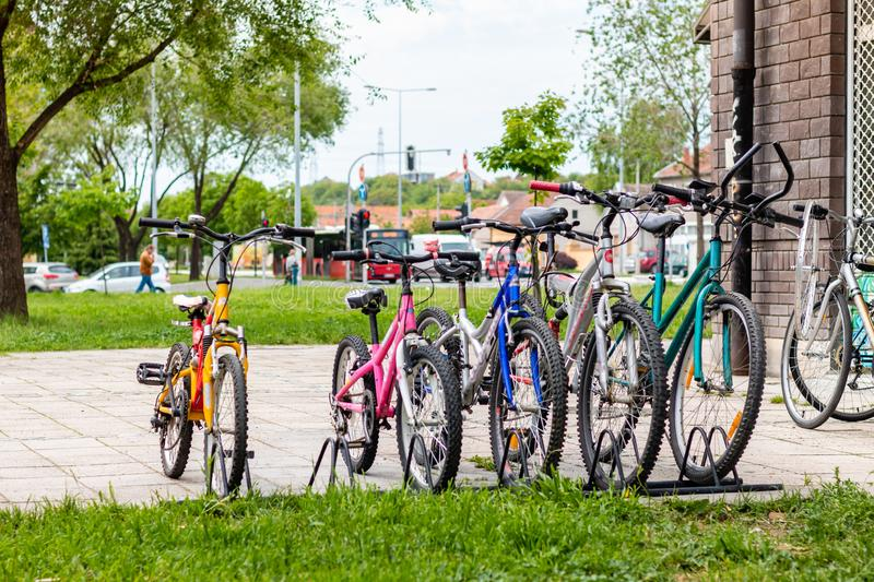 Bicycles in the row royalty free stock photography