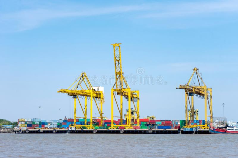 Group of big crane near the river royalty free stock images