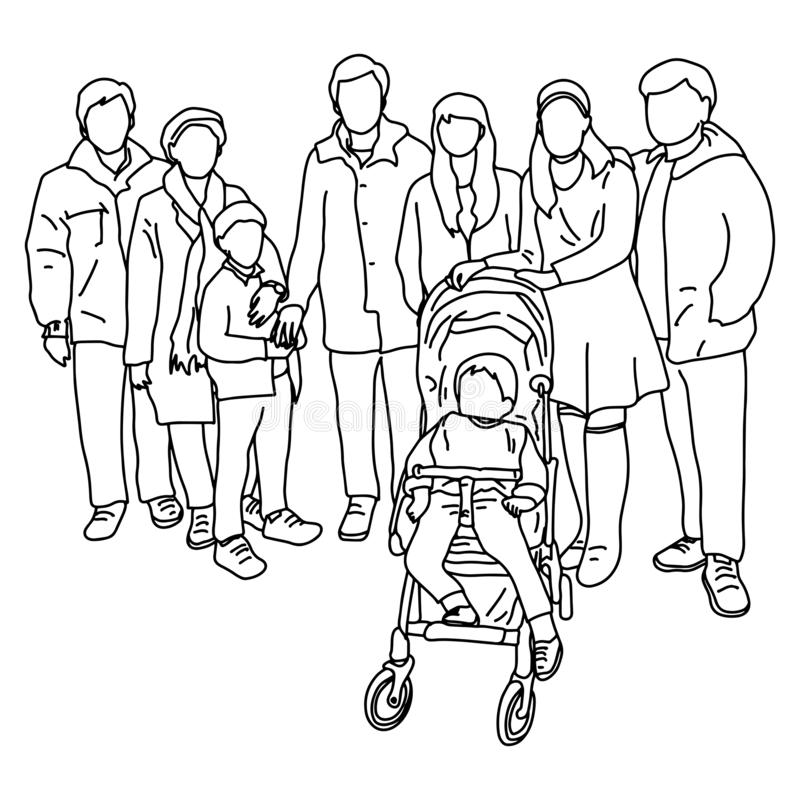 Group of big family with child in pram vector illustration sketch doodle hand drawn with black lines isolated on white background.  vector illustration