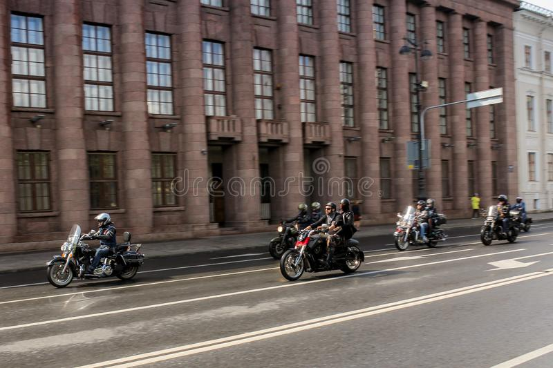 Group of bikers in motion stock photography