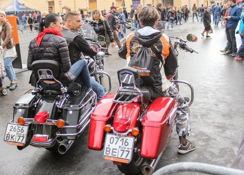 A group of bikers preparing to leave royalty free stock photos