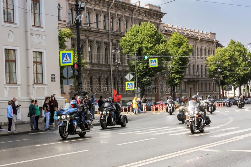 A group of bikers on St. Isaac`s Square stock photo