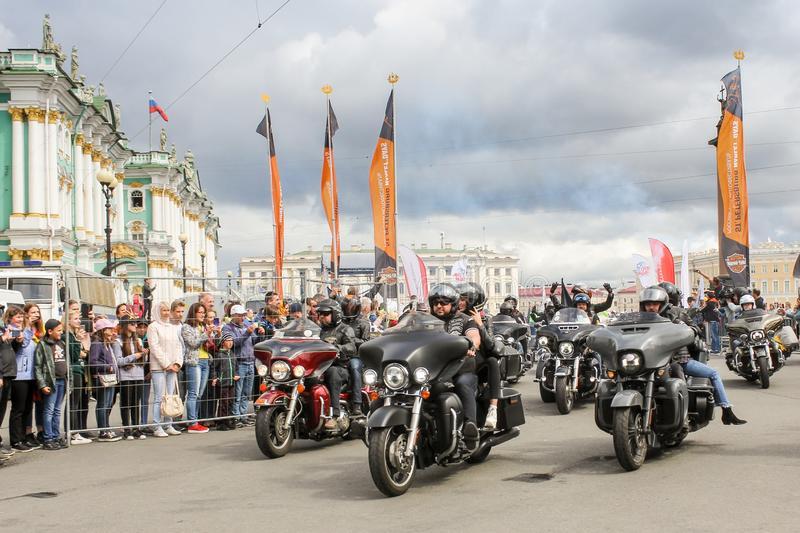 A group of bikers starts royalty free stock photo