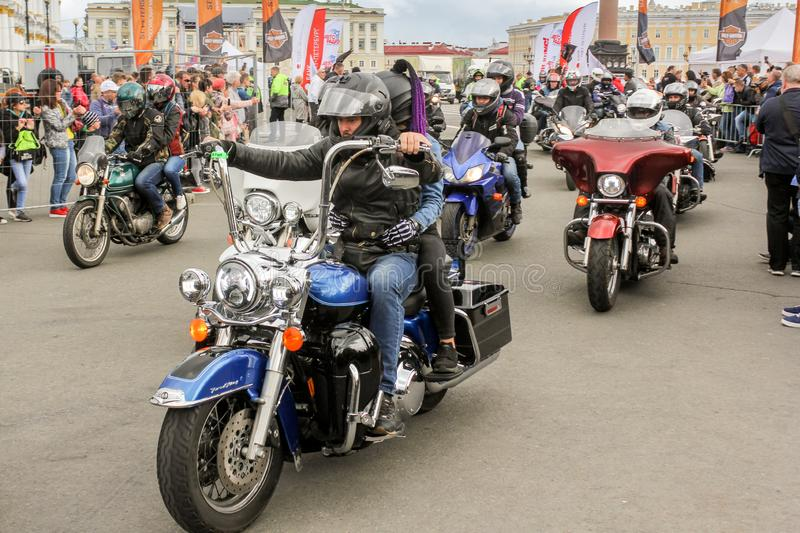A group of bikers starts royalty free stock photos