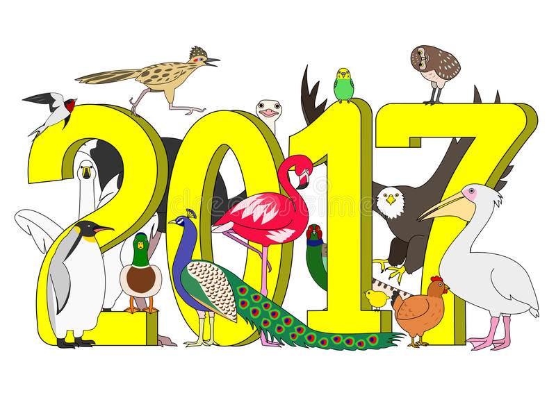Group of birds for new year. Group of various hand drawn birds with 2017 vector illustration
