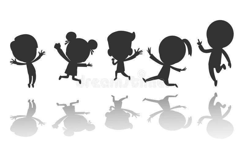 Group of black children silhouette jumping, Child silhouettes dancing, Kids silhouettes jumping on white background Vector. Illustration stock illustration