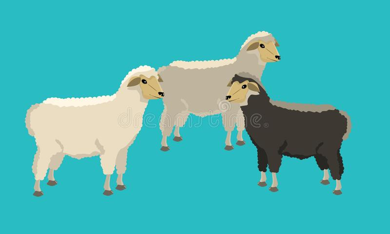 Group of black and white sheeps with solid and flat color design. royalty free illustration
