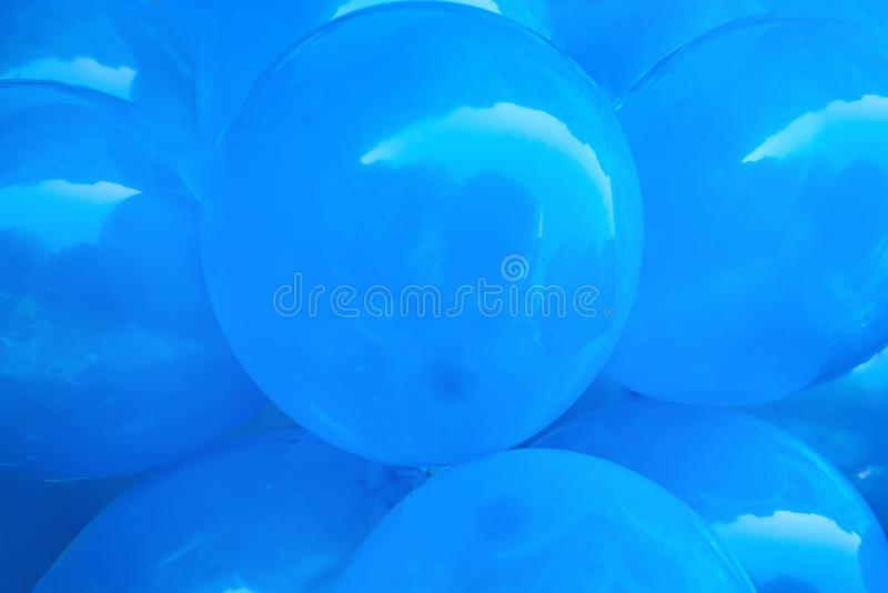 Group of blue beautiful balloons, creative background for the holiday. Close-up stock photos