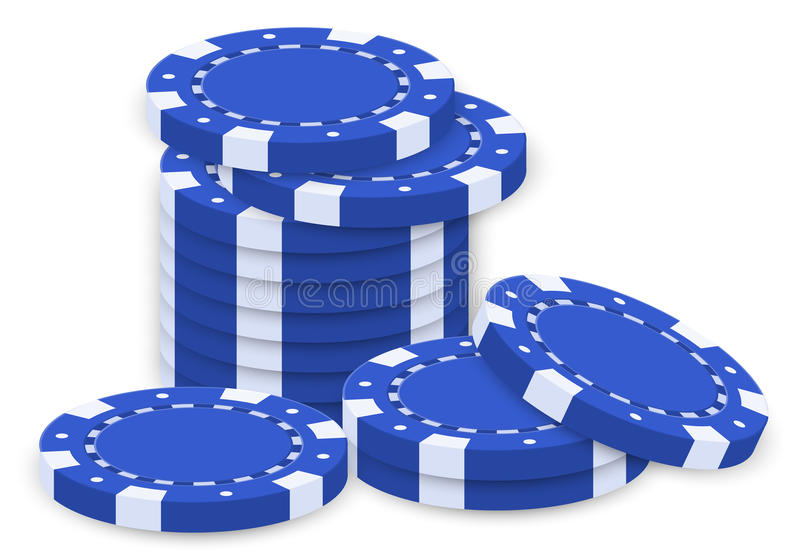 A group of blue poker chips royalty free illustration