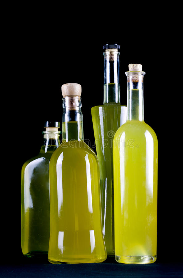 Group of bottles of sorrento limoncello homemade royalty free stock images