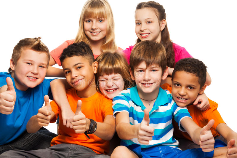 Group of boys and girls stock photos