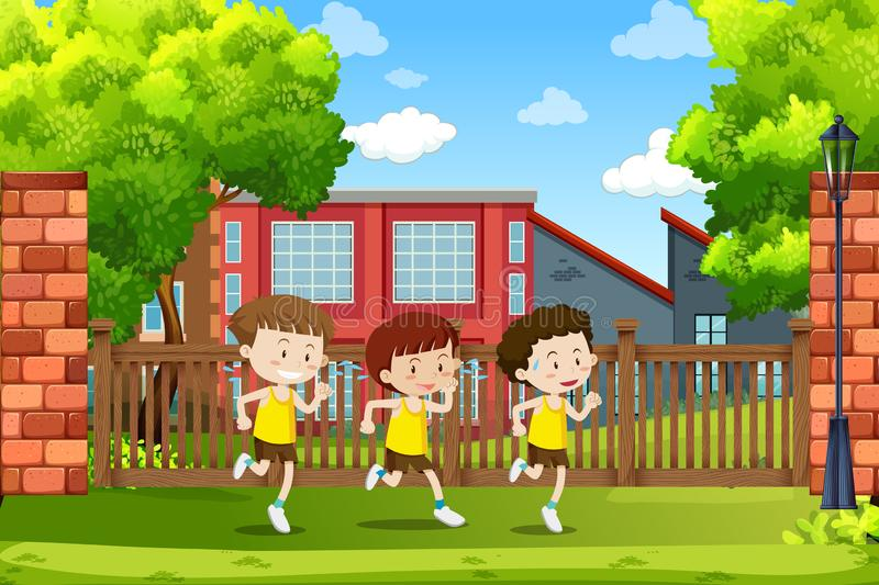Group of boys running stock illustration