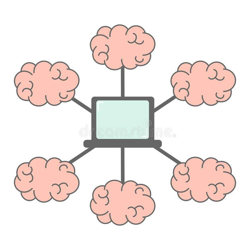 Group of brains connection and laptop network communication and webinar concept vector illustration. Group of brains connection and laptop network communication stock illustration