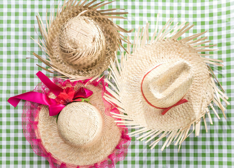Group of Brazilian Straw Hat on the table (Festa Junina Theme) stock photography