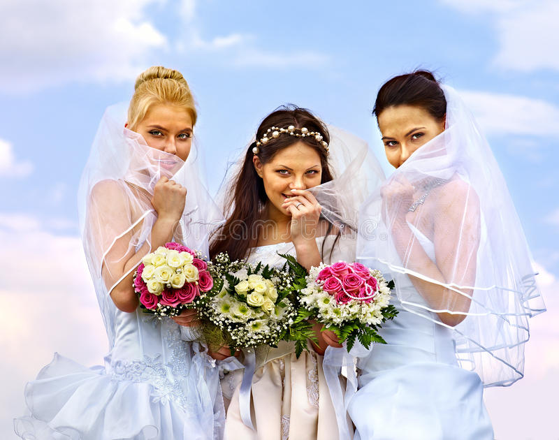 Download Group Bride And Groom Summer Outdoor. Stock Photo - Image: 39792114