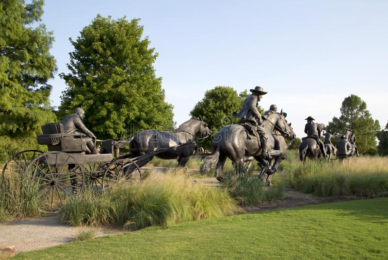 Group Bronze sculpture in Centennial Land Run Monument. Bronze sculpture in Centennial Land Run Monument, city Oklahoma USA royalty free stock images