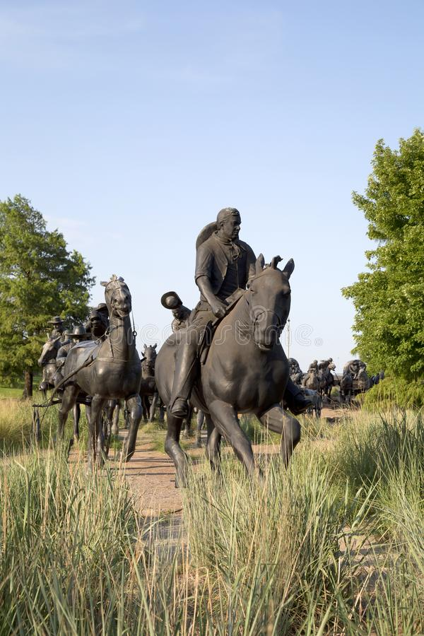 Group bronze sculpture in Centennial Land Run Monument. City Oklahoma USA royalty free stock images