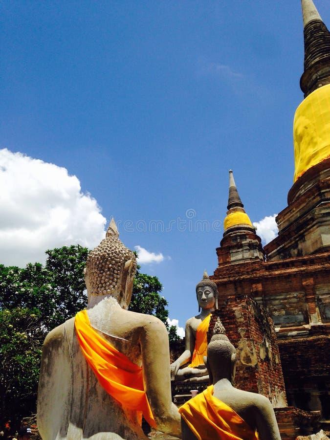 A group of Buddha images. Wat Yai Chaimongkol, Ayuddha, Thailand royalty free stock photography