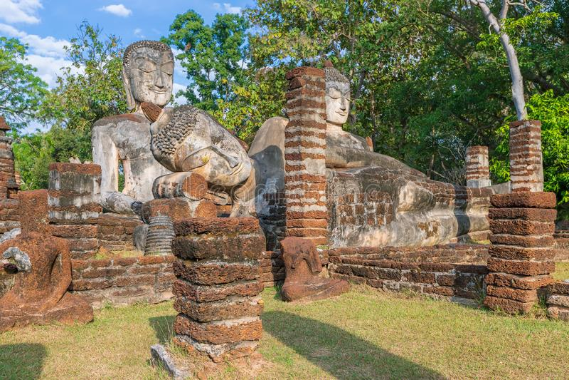 Group of Buddha statues at Wat Phra Kaeo temple in Kamphaeng Phet Historical Park, UNESCO World Heritage site stock photos