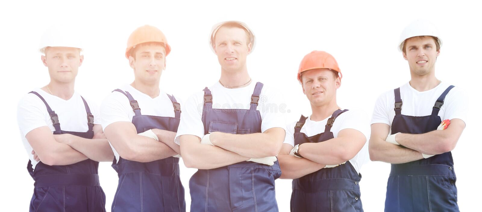 Group of professional industrial workers. stock photography